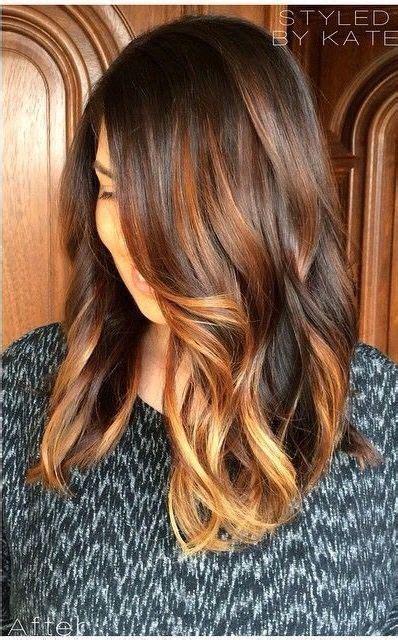 coloration cheveux balayage caramel sur base brune