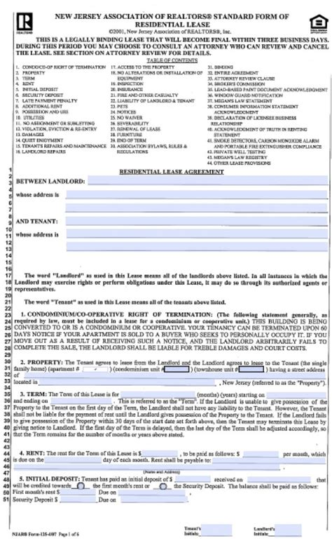 illinois association of realtors forms free new jersey standard residential lease agreement 1