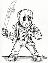 Jason Coloring Voorhees Pages Drawing Deviantart Cartoon Friday Vorhees Horror 13th Drawings Freddy Mask Scary Halloween Colouring Myers Michael Adult sketch template