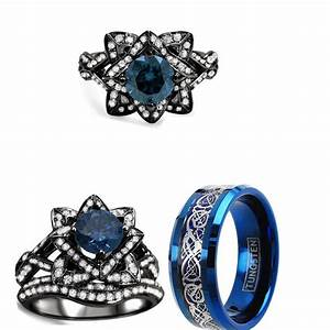 his tungsten and her 4 ct cz black blue couples 3pc With blue wedding ring set