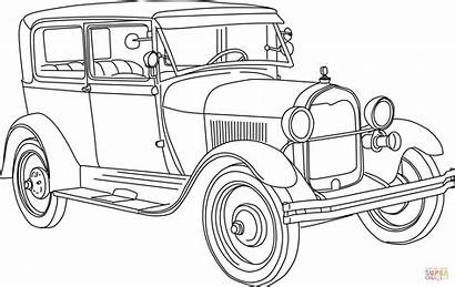 Coloring Ford 1928 Pages Cars Clipart Printable