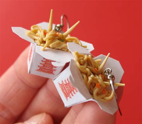 cuisine miniature take out earrings miniature food jewelry polymer