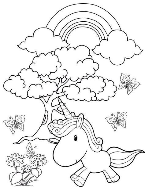 Rainbow Garden Unicorn Coloring Page Unicorn coloring