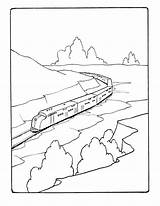 Coloring Train Printable Mountains Engine Freight Diesel Trains Through Csx Sheets Railroad Cartoon Streamlined Template Sock Monkey Popular Ecoloringpage Activity sketch template