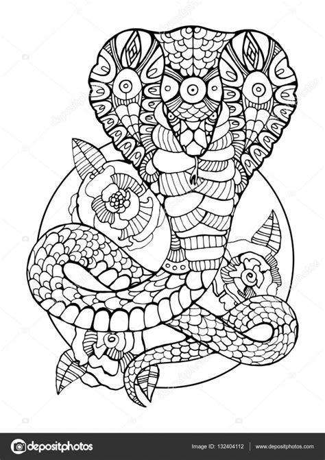 Cobra Slang Kleurplaat by Cobra Slang Coloring Boek Voor Volwassenen Vector