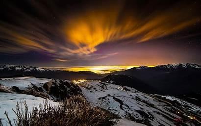 Night Winter Nature Landscape Mountain Lights Snow