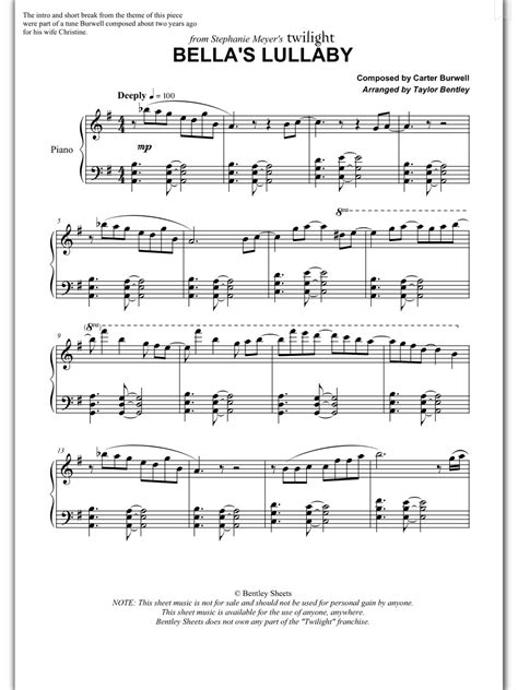 piano sheet music bella s lullaby carter burwell