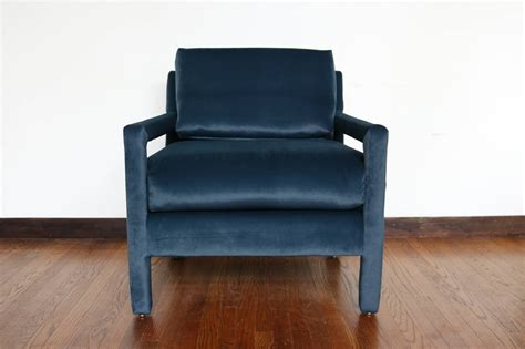 Parsons Armchair by Velvet Parsons Armchair In The Style Of Milo Baughman At