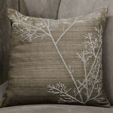 west elm pillows embroidered winter branch pillow cover modern