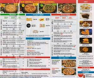 Domino Pizza Menu with Prices