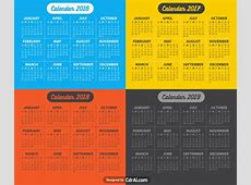 2016 2017 2018 2019 Calendar vector fully editable Free