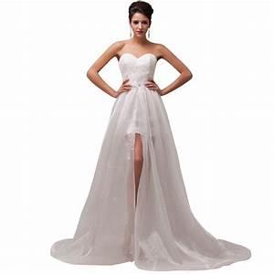 beach style stock strapless empire waist lace short With empire waist short wedding dress