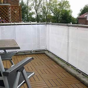 sichtschutz balkon stoff qc97 hitoiro With feuerstelle garten mit balkon sichtschutz meterware weiß