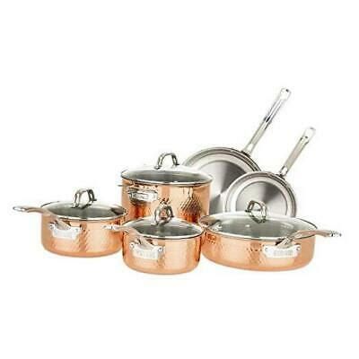 ply stainless steel hammered copper clad cookware set  piece ebay