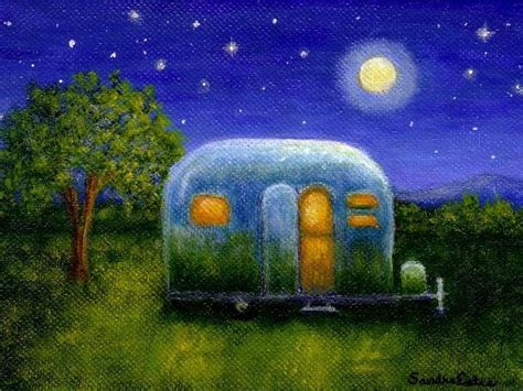 airstream cer under the stars painting by sandra estes