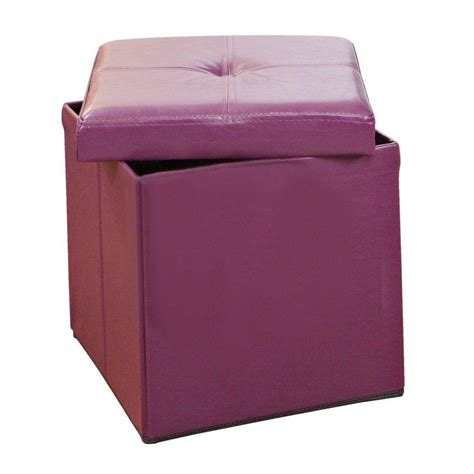 Purple Storage Ottoman by Simplify Purple Storage Ottoman F 0625 Pur The Home Depot