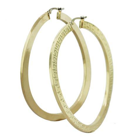 14k yellow gold greek key twisted x large hoop earrings