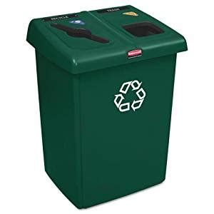green kitchen trash can rubbermaid glutton recycling 4031