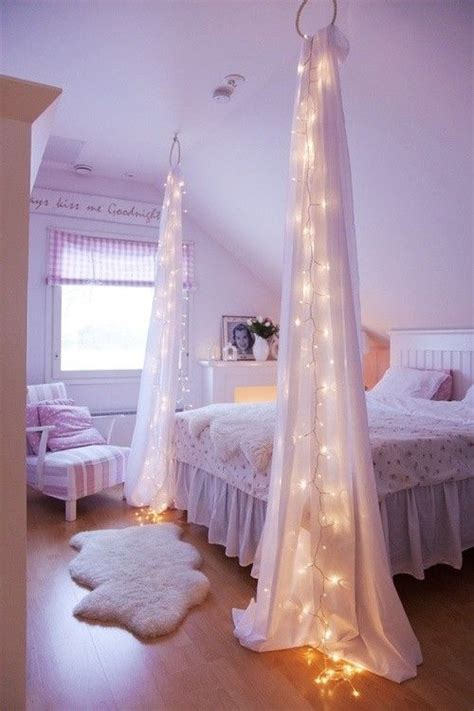 decorate your bedroom with some christmas lights and sheer