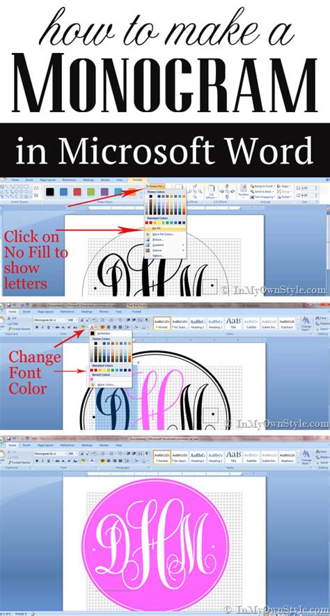 how to create a monogram using microsoft word in my own