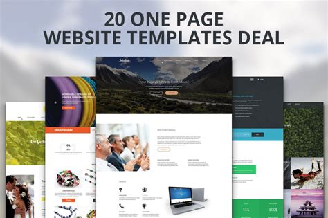 Market Website by 20 One Page Website Templates Deal Landing Page
