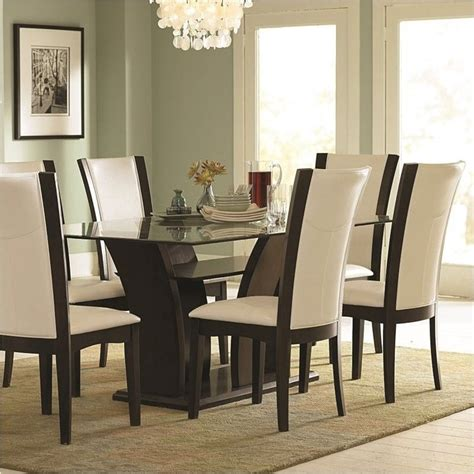Bowery Hill Rectangular Glass Top Dining Table In Espresso
