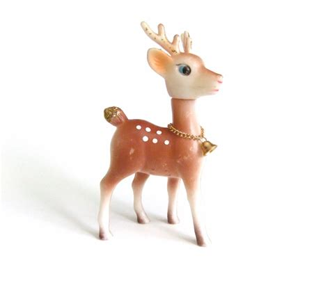 plastic reindeer figurine gold bell glitter white by