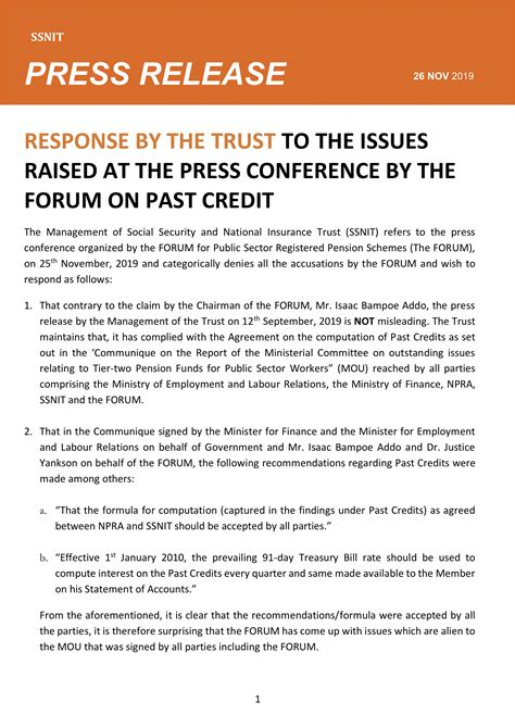 Press Release - Response by the Trust on Past Credit ...