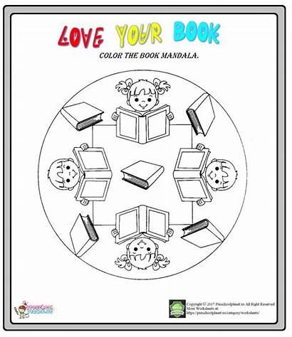 Library Coloring Week Mandala Worksheet Preschoolplanet