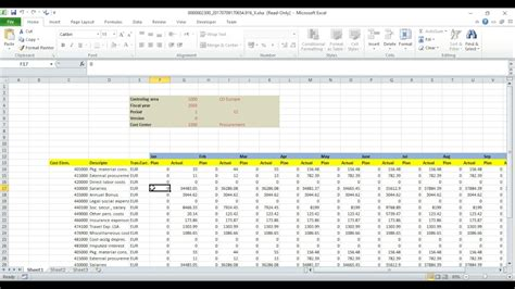 sap cost center planning  budgeting  excel youtube