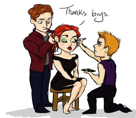Star Lord Hawkeye Helping Natasha With Her Make