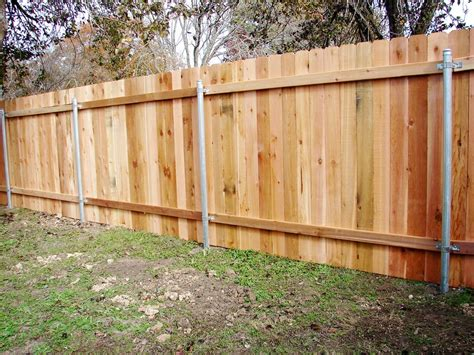 Wood Privacy Fence On Steel Posts