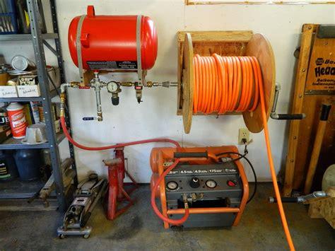 shop  air compressor reel  reserve tank garage