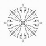 Compass Rose Coloring Drawing Blank Tattoo Southwestdanceacademy sketch template