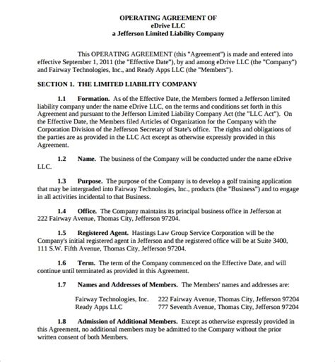 sample business operating agreement   documents