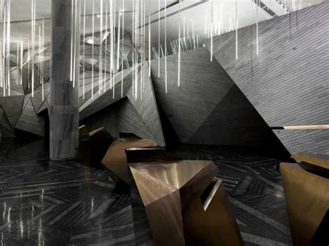 Corian Sles by Exaggerated Angular Interiors Chongqing Mountain And