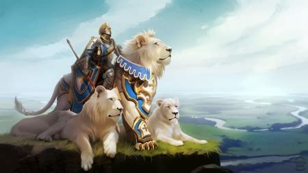 lion knight fantasy abstract background wallpapers
