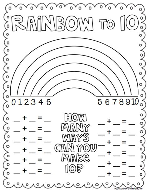rainbow number combinations to 10 freebie from cupcake
