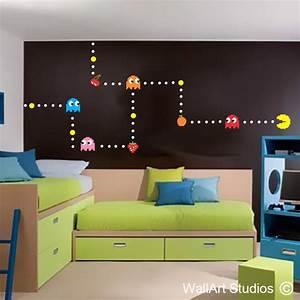pacman wall sticker custom gamer wall decals wall art With pacman wall decals gamers room ideas