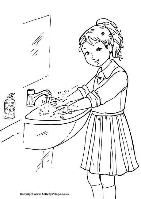 Kids Washing Face  Free Coloring Pages