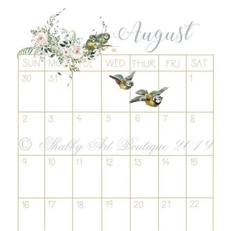 printable vintage  calendar shabby art boutique