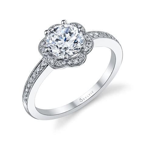 engagement rings flower design flower halo prong set engagement ring