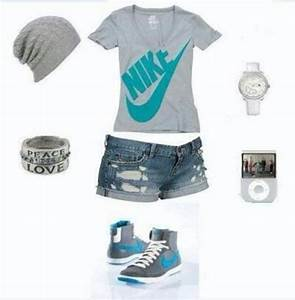 Shoes nike outfit cute tennis shoes hat jewels shirt shorts - Wheretoget