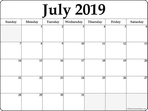 july calendar template july 2019 free printable blank calendar collection
