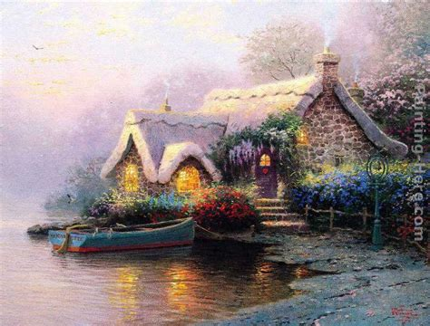 Cottage Paintings By Kinkade by Kinkade Lochaven Cottage Painting Framed