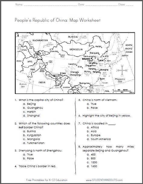 free worksheets for grade 4 social studies china free printable map worksheet for grades 4 6 ccss