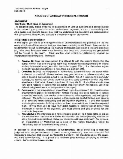 Essay Anatomy Handout Political Thought Academia