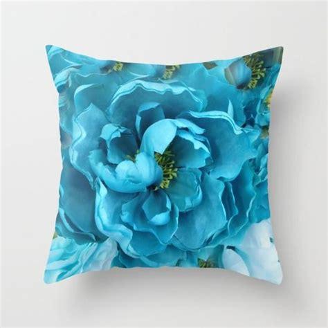 blue floral throw pillows aqua blue flower pillow shabby chic decor blue aqua throw
