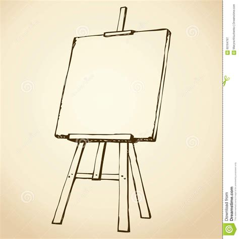 easel vector sketch wooden blank canvas white backdrop