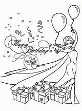 Coloring Birthday Card Cards Happy Pages Printable Drawing Elsa Frozen Template Printables Folding Disney Holiday Wuppsy Alphabet sketch template